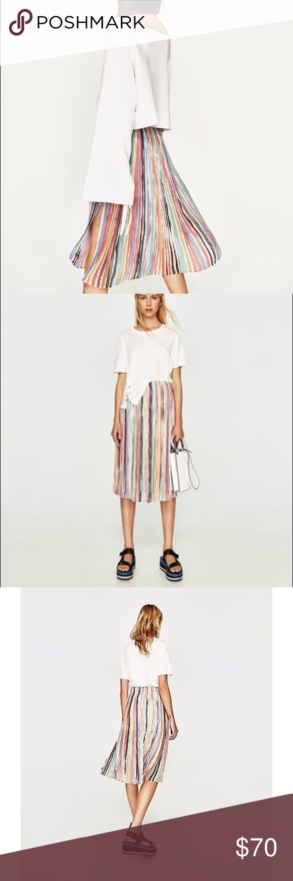 Zara pleated midi skirt in multi/ rainbow Awesome rainbow watercolor pleated midi skirt with short slip and side slit. Sold out in stores! Zara Skirts Midi