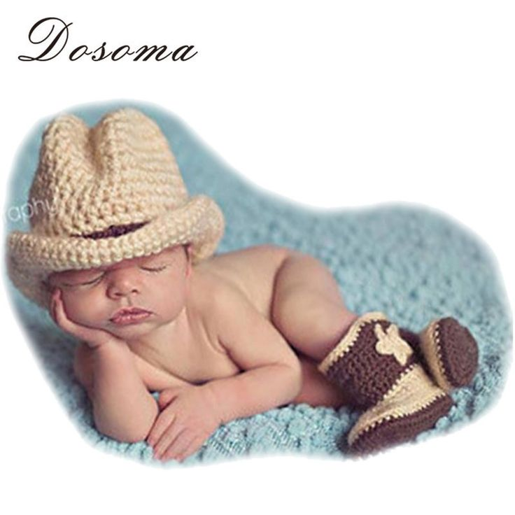 Handmade Infant Baby Knitted Cow Boy Costume 0-3 month