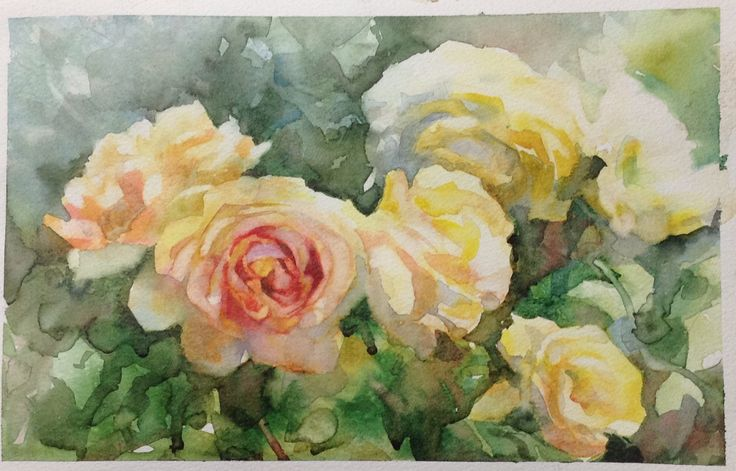 Watercolour Painting by Annette Raff Class demonstration in painting roses using gum arabic as an additive where we lift back to whites and lights.
