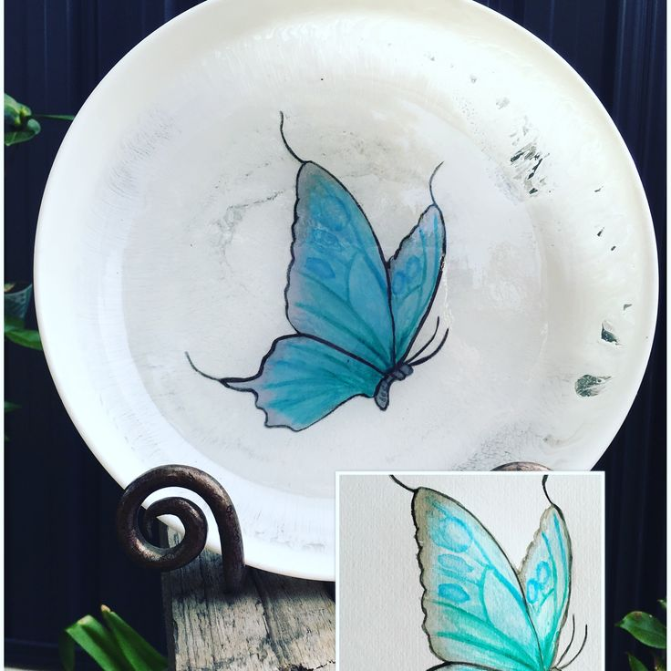 Custom order - aqua butterfly embedded in a resin bowl