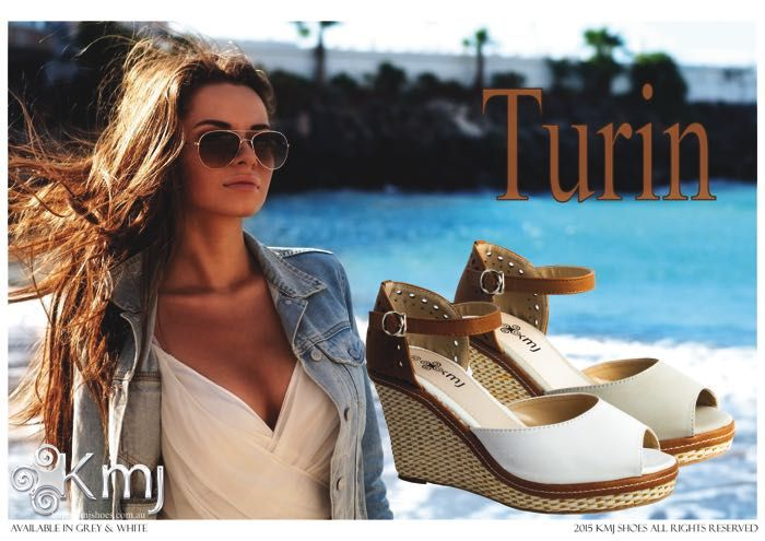 Turin is a feather light wedge for go anywhere style. Available in ice white or misty grey. www.kmjshoes.com.au for stockists throughout Australasia.