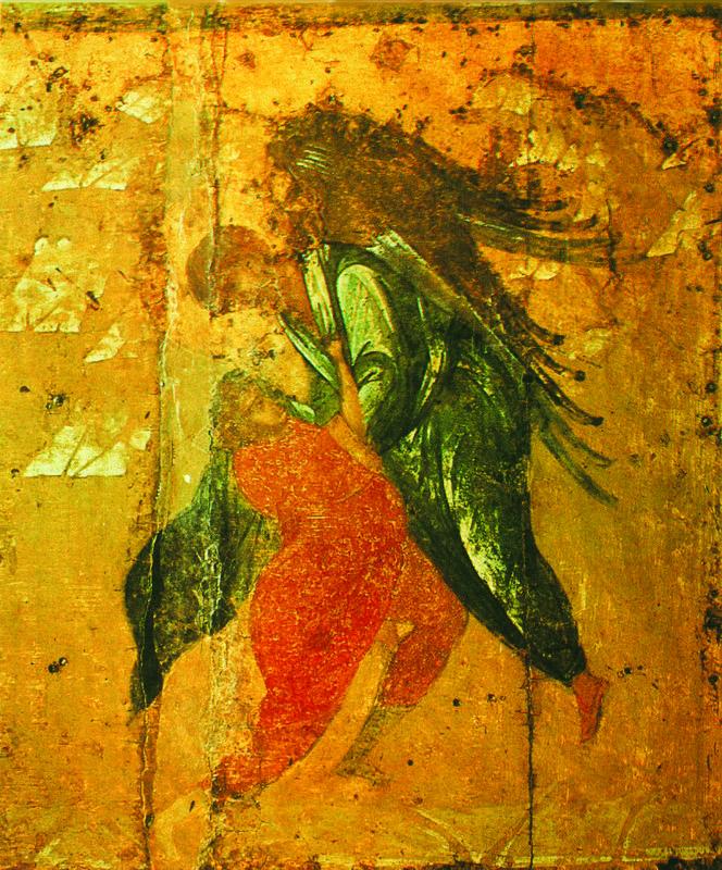 Начало XV в.  Архангел Михаил с житием.   Клеймо.  Борьба Иакова с ангелом..