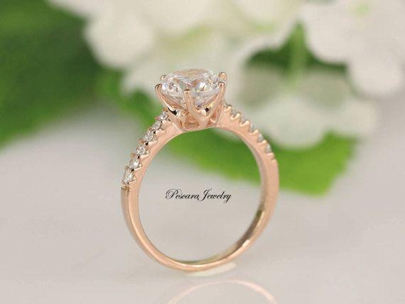 2 quilates redondo corte anillo  anillo de compromiso de 6
