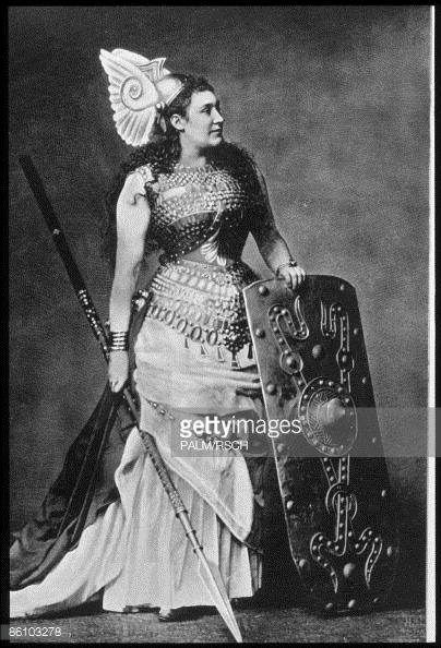 """This is what our """"Dame"""" is parodying in the Valkyrie scene.  Without the corset, of course.  News Photo : Austrian operatic soprano Amalie Materna as the..."""
