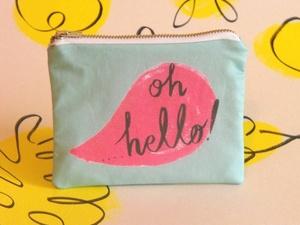 Oh Hello! illustrated printed cotton coin purse www.sarikathakorlal.com
