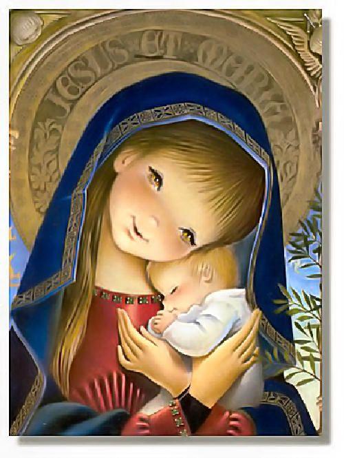 Madonna and Child . Vintage illustration by Juan Ferrandiz.
