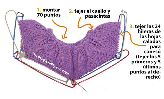 ropón o chaqueta para bebe con cuello canesú de hojas caladas