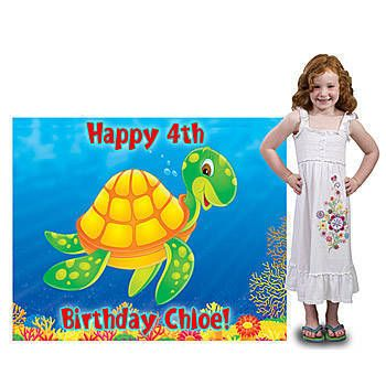 Our exclusive Personalized Sea Turtle Standee features a happy green and yellow sea turtle swimming under the sea! Free standing cardboard sea turtle standee is 56 inches wide.