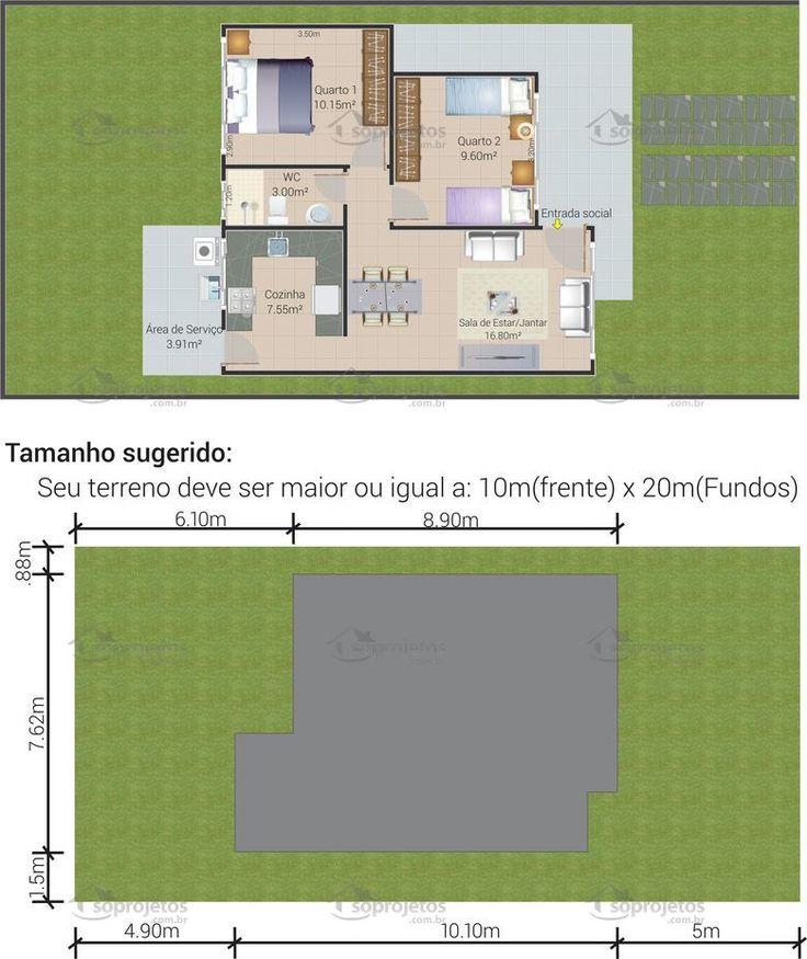 Planta de casa térrea com 2 quartos para 10m de frente - 63,85m - Cód. 117
