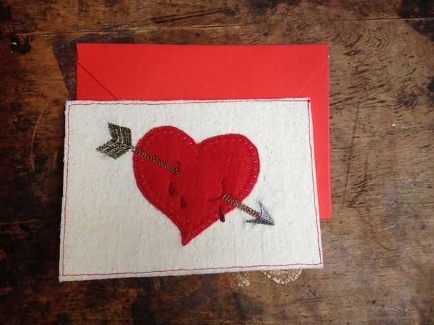 Embroidery Valentines cards #etsy #dawanda #valentines #card