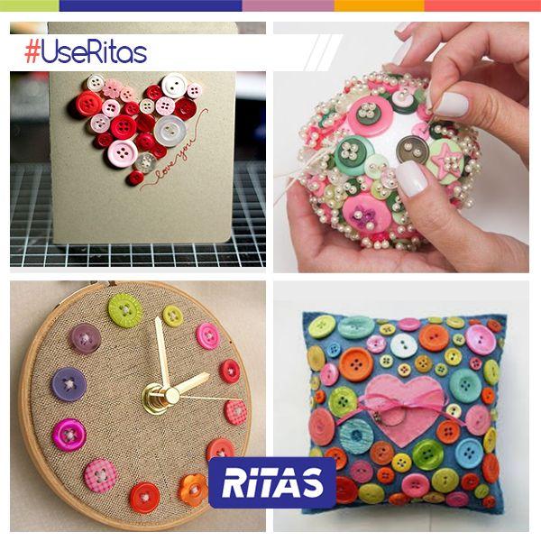 Nós criamos a hashtag #UseRitas onde vamos apresentar diferentes trabalhos de artesanato, todos feitos com botões. Uma ótima oportunidade para se inspirar e conhecer nossos inúmeros modelos e tonalidades de botões. Esteja na moda, #UseRitas.