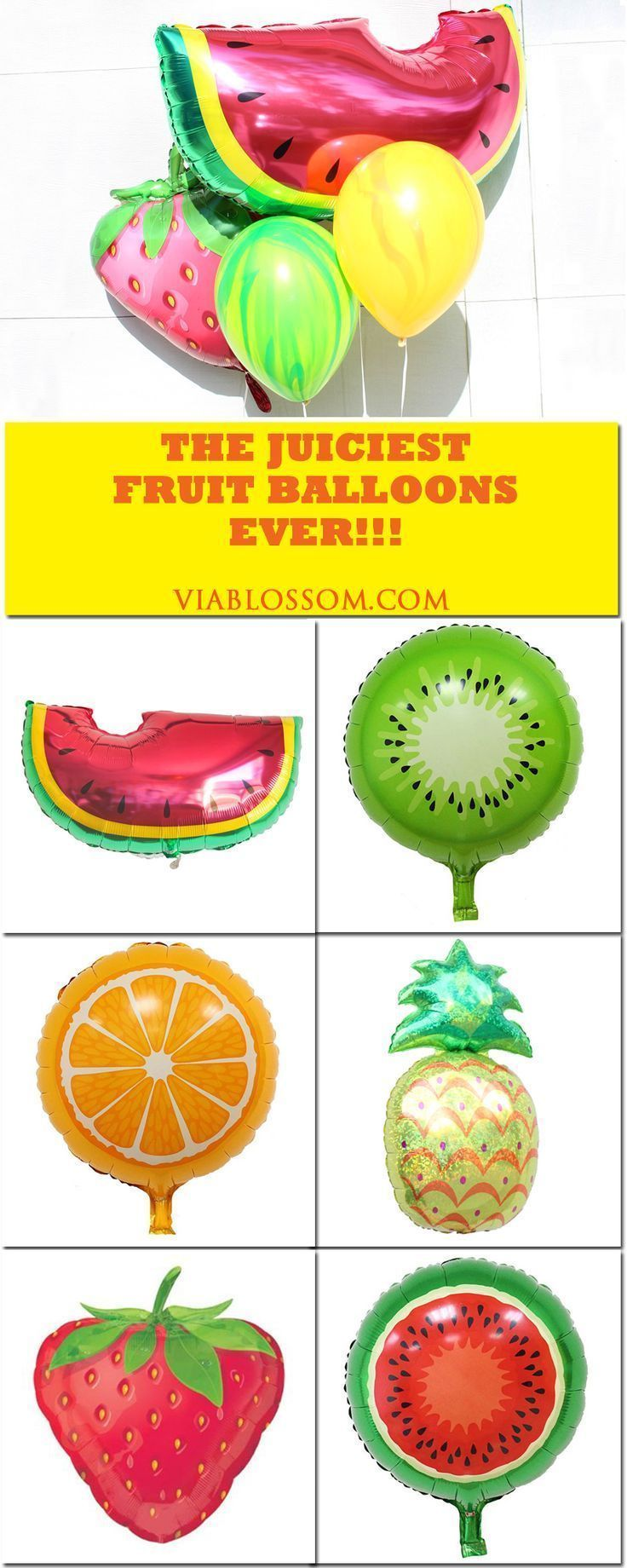 Fruit Balloons for all your summer parties!!  Pineapple balloons, strawberry balloons, watermelon balloons and more!!  If you are planning a Hawaiian Luau Party or a Tutti Frutti Party then these Fruity Balloons are what you need!
