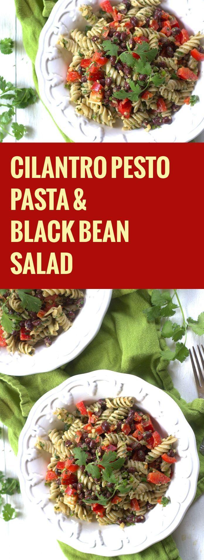 Cilantro Pesto Pasta and Black Bean Salad
