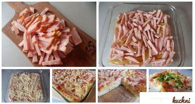 Przepis na zapiekankę makaronową z szynką i żółtym serem...
