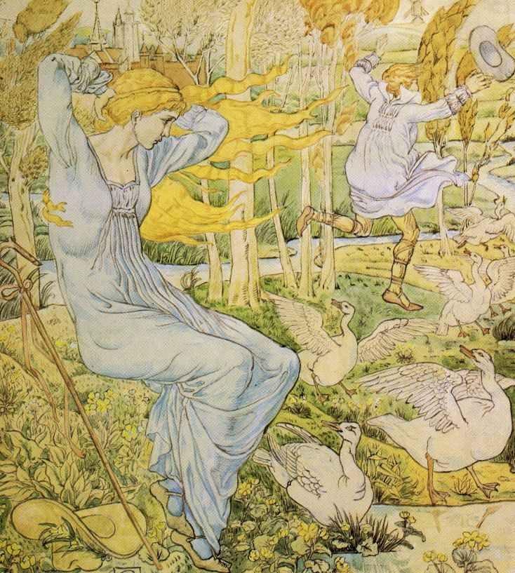 The Goose Girl -- Walter Crane -- Fairytale Illustration