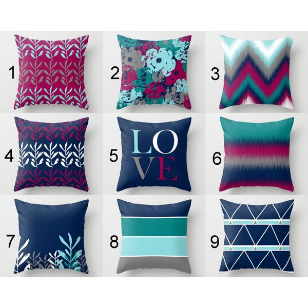 Blue And Gray Throw Pillows Part - 38: Throw Pillow Covers Fuchsia Navy Teal Aqua Grey White Mix And Match ($34) ?