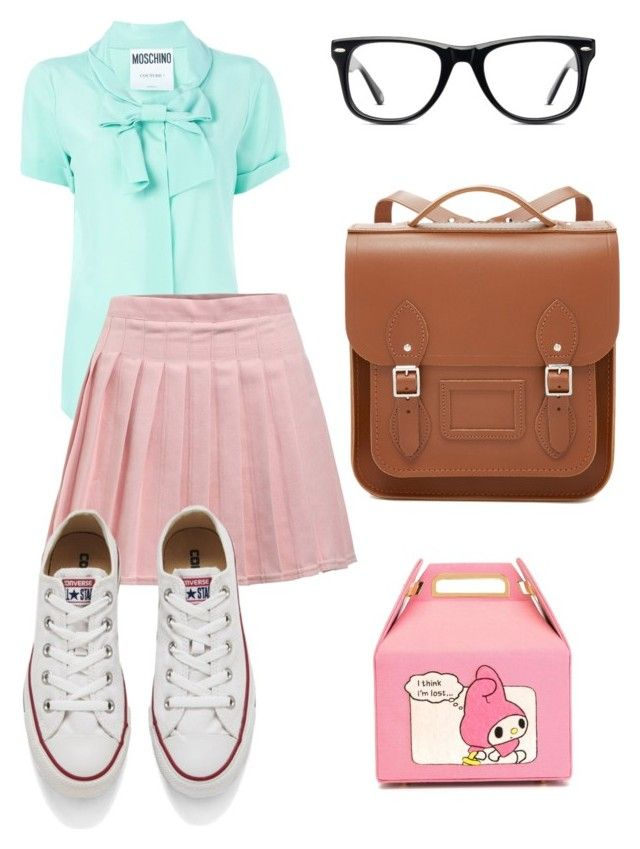 """Have a nice school day"" by rainbowfra on Polyvore featuring Moschino, Converse, Olympia Le-Tan, Muse and The Cambridge Satchel Company"