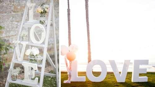 grandes lettres love mariage