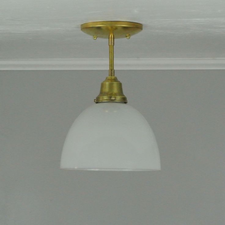 Milk Glass Dome Semi-Flush Mount Brass Light