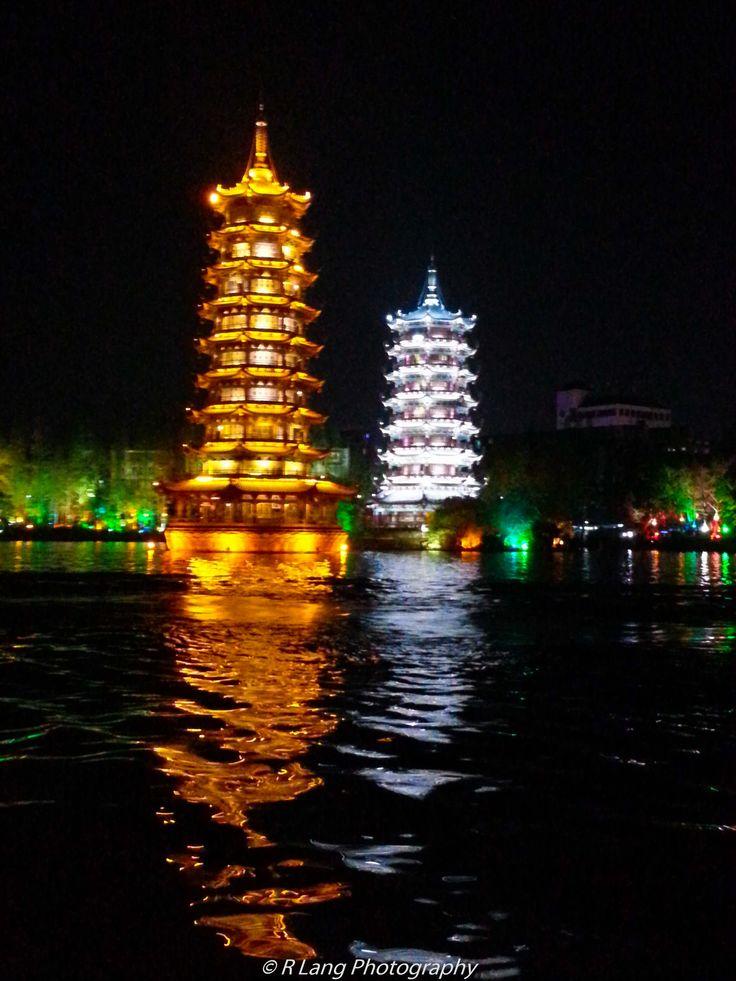 Sun and Moon Pagodas in Guilin, China