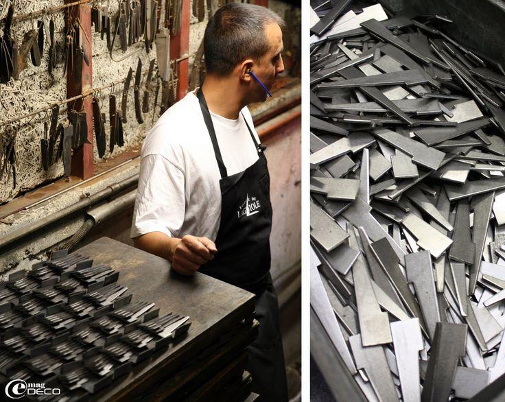 Crampons d'acier avant d'être forgés pour la fabrication des couteaux de…
