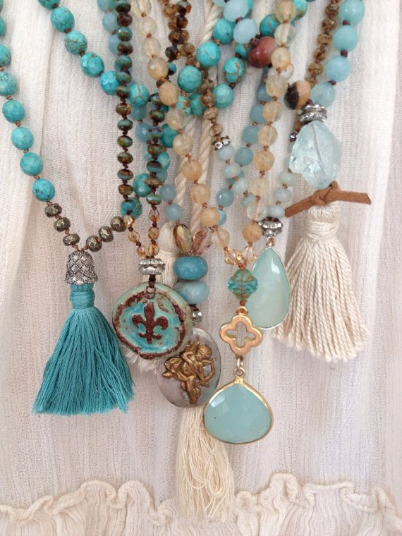 Bohemian glam blues natural earth tone mixed gemstone boho tassel long layering necklace