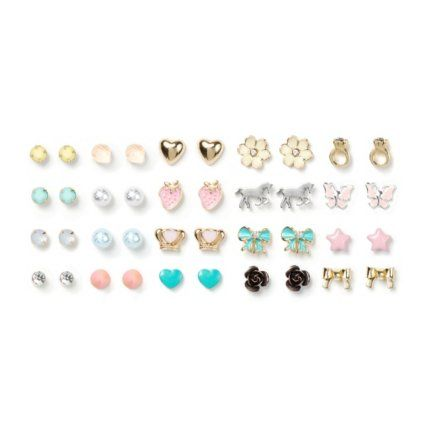Assorted Girly Stud Earrings Set of 20 (82804): You can never have too many pairs of earrings, especially pretty studs. This set of 20 earrings has the perfect pretty look. With simple pastel-colored studs and pretty charms from hearts to flowers to stars to bows to rings and more, you have the variety any girl needs in her jewelry collection. $20.00
