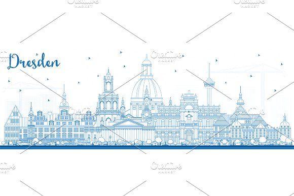 #Outline #Dresden #Germany #City #Skyline by Igor Sorokin on @creativemarket