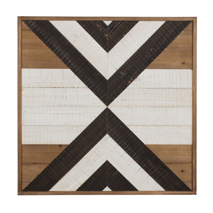 Kate and Laurel Baralt White and Rustic Brown Plank Wood Geometric Art Plaque