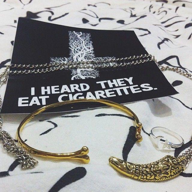 Bones Bangle & Elephant Tusk Necklace At www.iheardtheyeatcigarettes.com xxx