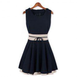 $13.90 Elegant Scoop Neck Color Splicing Zipper Embellished Flouncing Hem Sleeveless Polyester Dress For Women