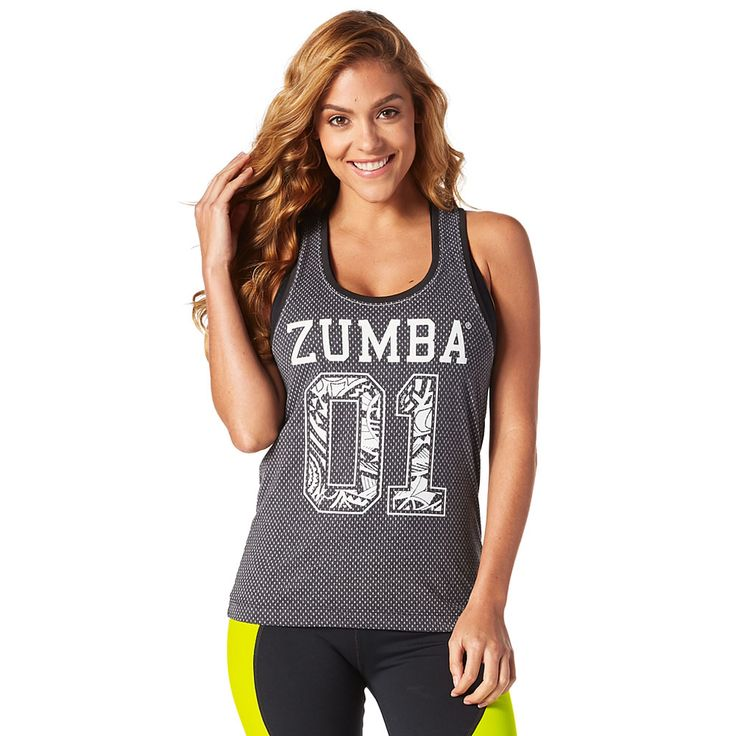 TEAM ZUMBA TANK - BACK TO BLACK ------------- Everyday you're hustlin' in the Team Zumba Tank! This regular length tank comes in lightweight burnout mock mesh that's perfect for the dance floor or the b-ball court!