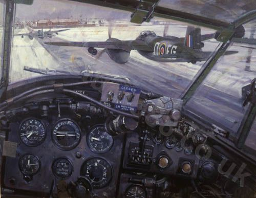 Amiens Attack by Michael Turner - de Havilland Mosquitos from 487Sqn., leading the attack on Amiens prison in February 1944, run in to the target at zero feet.