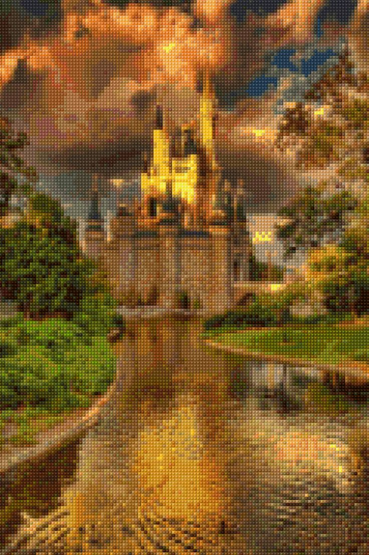 Castle in Sunset Cross Stitch pattern PDF - Instant Download! by PenumbraCharts on Etsy