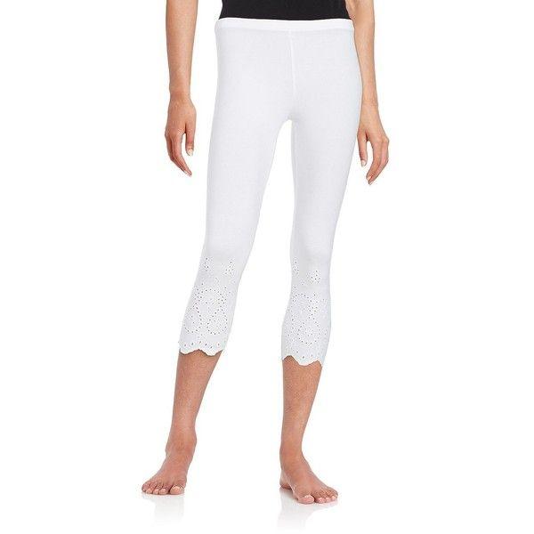 Hue Eyelet-Trim Capri Leggings ($34) ❤ liked on Polyvore featuring pants, leggings, white, stretch leggings, white legging pants, white stretch pants, white stretchy pants and cotton spandex capri leggings
