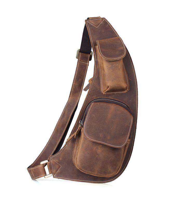 Amango Vintage Genuine Cow Leather Chest Bag Messenger Bag Brown A30115