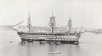 HMS Impregnable as a training ship, 1896. she was based at Devonport, Plymouth. Thomas Henry Baynton trained on here