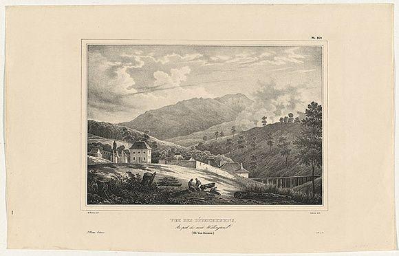 Artist: SAINSON, Louis de | Title: Vue des d'Efrichemens.  Au pied du Mont Wellington.  (Ill Van Diemen). | Date: 1833 | Technique: lithograph, printed in black ink, from one stone