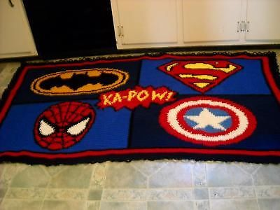 HANDMADE CROCHETED SUPERHEROES AFGHAN/ SUPERMAN/BATMAN/SPIDEY/CAPT AMERICA  72X44