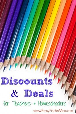 HUGE list of discounts and offers for teachers and homeschooling parents!  #homeschool  #teachers    Courtesy of www.pennypinchinmom.com