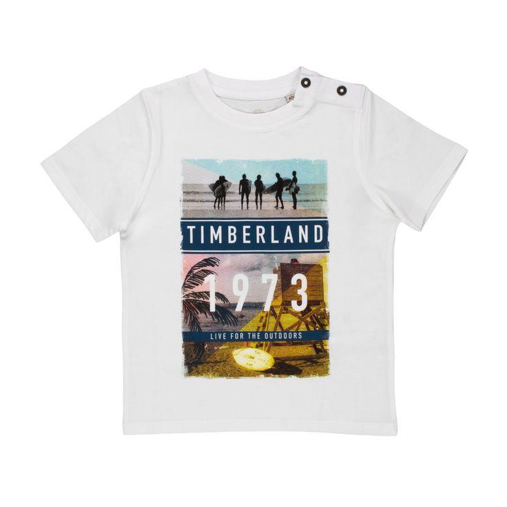 Timberland - T-Shirt Bianca Baby Bambino - Vivace maglietta bianca con stampa fotografica firmata Timberland Baby della nuova Collezione Primavera Estate 18 - Linea di #abbigliamento #Bimbo e #Bambino #Timberland #timberland #baby #neonato #bebè #annameglio #onlineshopping #shopping #annameglio