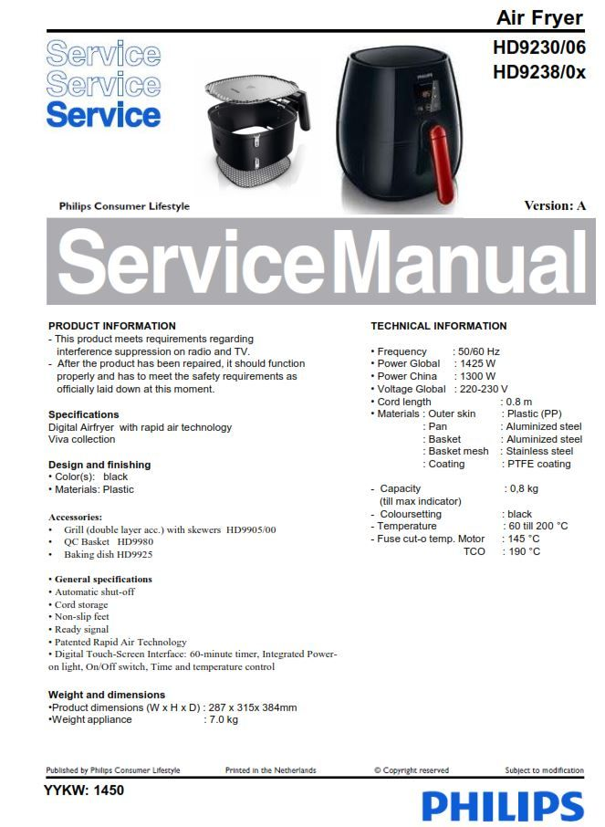 Philips Airfryer Hd9238 Hd9230 Service Manual Free Download Air Fryer Manual Philips