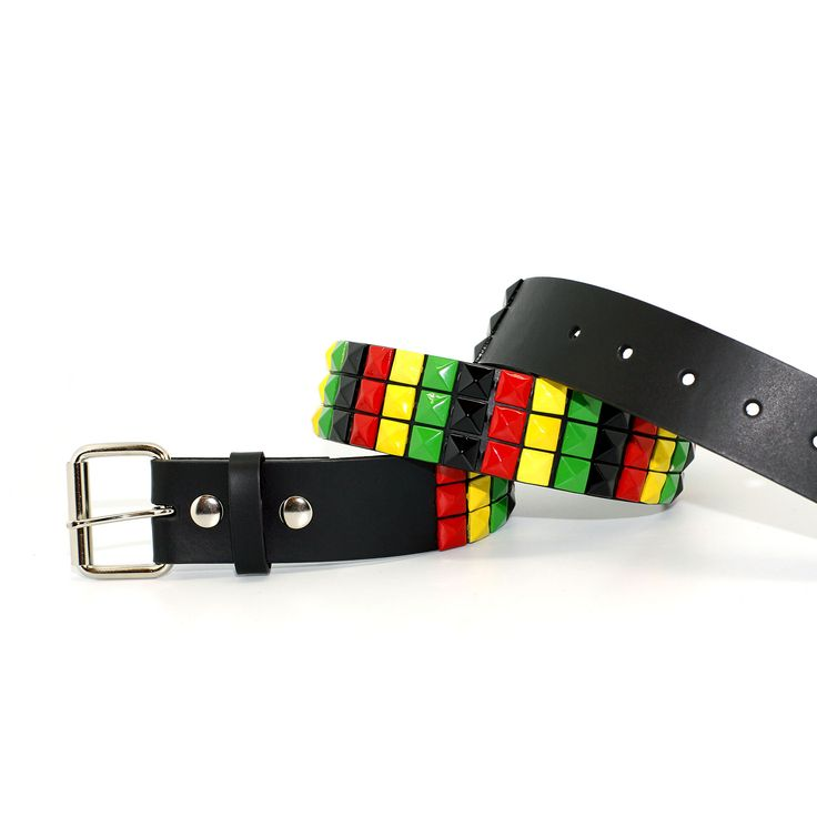 98328-RSTA -- Unisex Three Row Rasta Pyramid Belt - One love, one life~!! Pay tribute to the Rastafarian culture with this belt.
