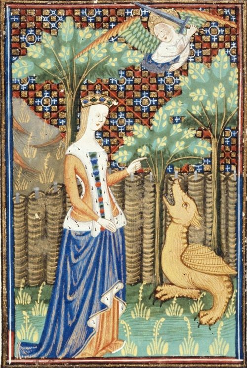 15th century (ca. 1440), Northern France - Rouen  British Library  Royal 16 G V: Le livre de femmes nobles et renomées (French edition of De mulieribus claris) by Giovanni Boccaccio; illumination by the Talbot Master  fol. 5 - Eve, already mysteriously dressed, being seduced by the Serpent.  http://www.bl.uk/catalogues/illuminatedmanuscripts/record.asp?MSID=8359=16=160705  Eve is clad in gates-of-hell surcote lined in and trimmed with ermine (colloquially known as spermcloth) ov