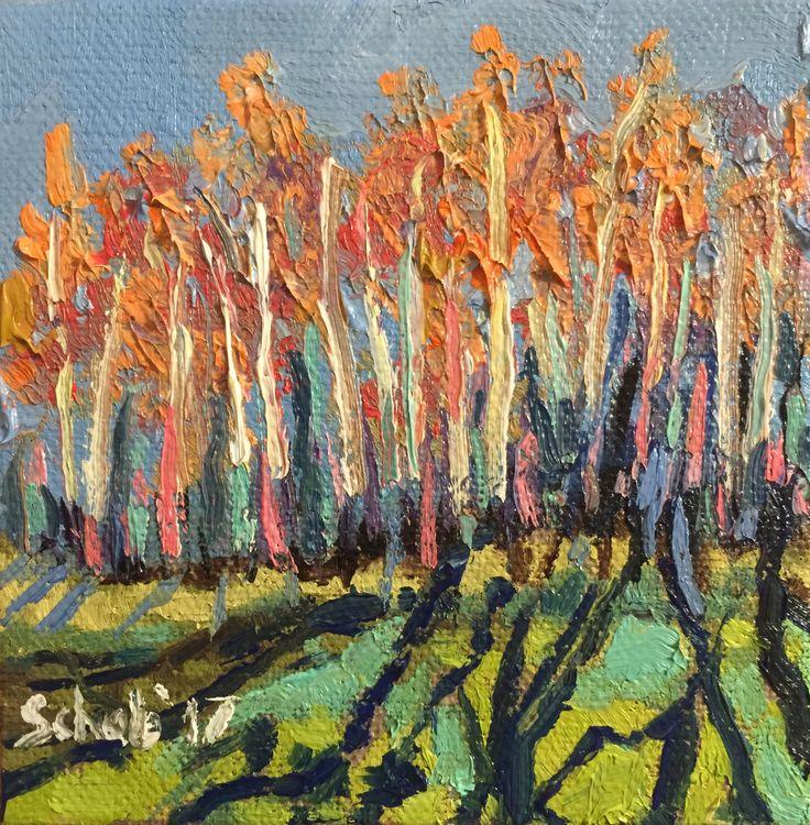 Birches- 10x10cm, oil on canvas board