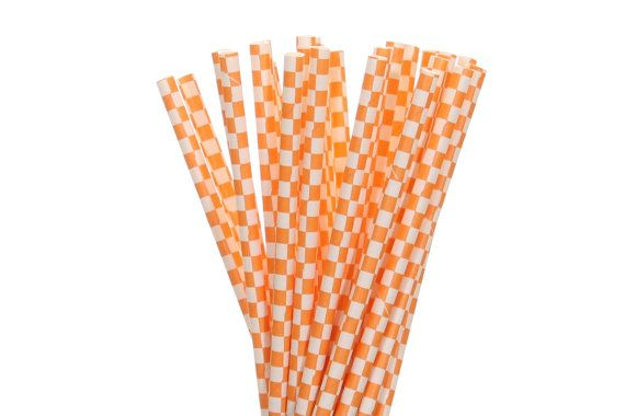 Paper Straws, Orange and White Checkered Paper Straws, Construction Party Supplies, Halloween Party Decor, Summer Pool Party Supplies, Straw