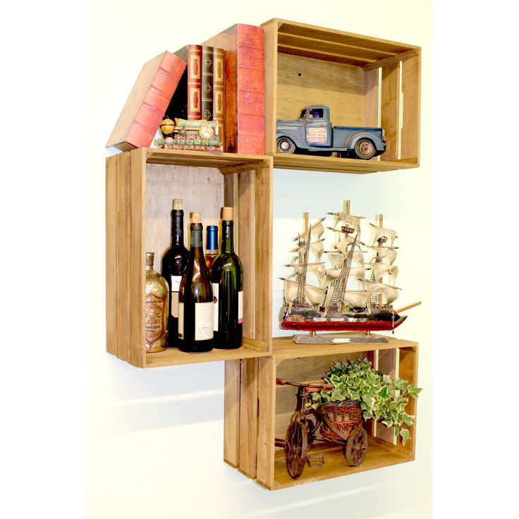Features:  -Set includes 3 wooden crates.  -Easy to install on wall or stack and how many you like, the way your want (no screws included).  -Great gift idea.  -Item listing is for 3 crates, photos of