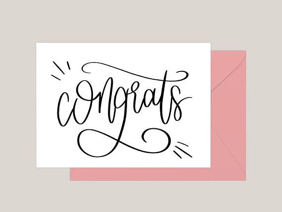 Printable Congratulations Card | Greeting Card | Congrats | Typography | Celebration Card | Hand-lettered Card | A2 Card