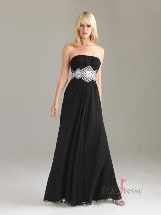 A-line Strapless Floor-length Chiffon Prom Dress with Rhinestone