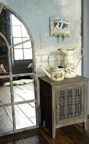 I Heart Shabby Chic: Shabby Chic Mirrors: Inspiration Water, Mirror Mirror, Country Styles, Decoration Idea, Shabby Mirror, Shabby Chic Mirror, Vintage Inspiration, Wall, Water Pail